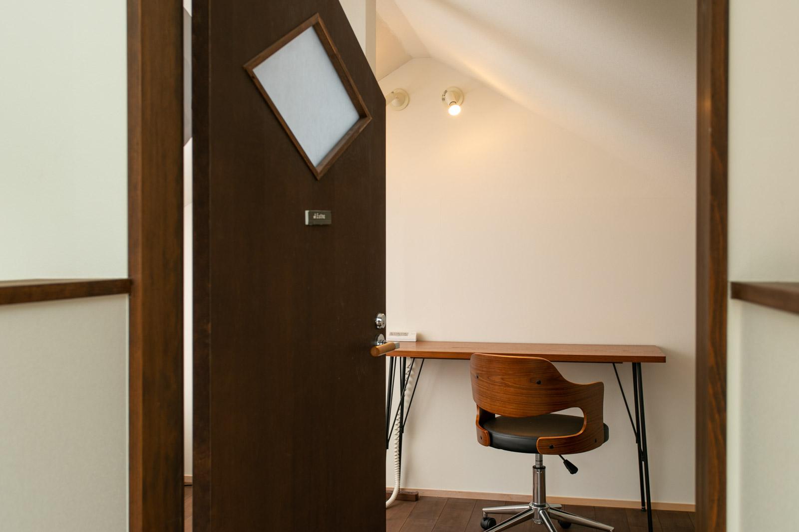 長谷壱番館の屋根裏部屋のデスク